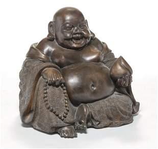 ASIAN BRONZE SEATED BUDDHA.