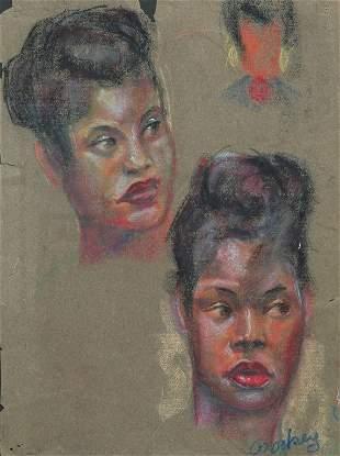 PORTRAIT STUDIES OF AFRICAN AMERICAN WOMAN.