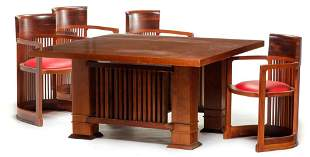 FRANK LLOYD WRIGHT STYLE TABLE AND FOUR CHAIRS.