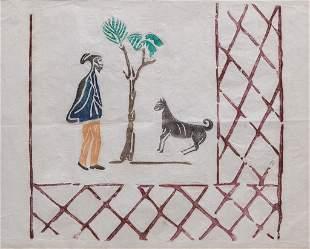 WOODBLOCK PRINT OF DOG AND MAN.
