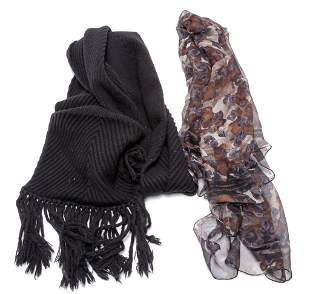 TWO LOUIS VUITTON AND YVES SAINT LAURENT SCARVES.