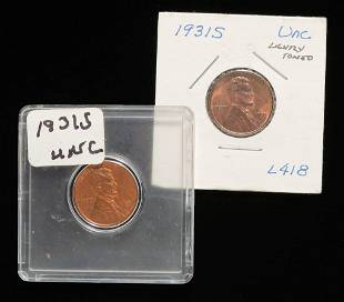 TWO 1931-S KEY DATE LINCOLN HEAD CENTS