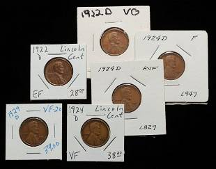 SIX 1924-D AND 1922-D LINCOLN HEAD CENTS