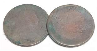 TWO DRAPED BUST LARGE CENTS