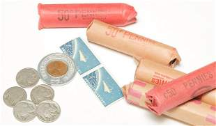 FIVE ROLLS OF UNSORTED WHEAT CENTS AND NICKELS