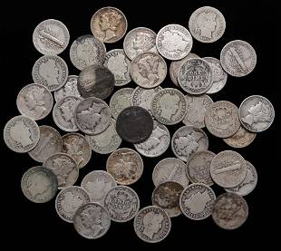 FORTY-SEVEN SILVER BARBER AND MERCURY DIMES