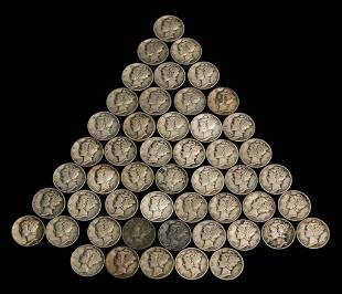 GROUP OF FIFTY-TWO SILVER MERCURY DIMES