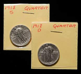 1918-S AND 1918-D STANDING LIBERTY SILVER QUARTERS