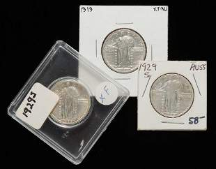 THREE STANDING LIBERTY QUARTERS INCLUDING 1929-S
