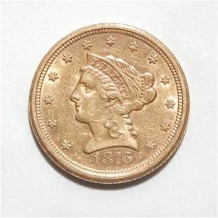 1876-S LIBERTY HEAD QUARTER EAGLE $2.5 GOLD COIN