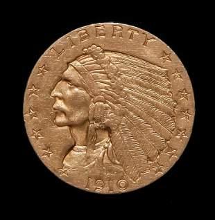 1910 $2.5 INDIAN HEAD GOLD QUARTER EAGLE COIN