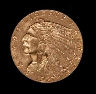 1927 $2.5 INDIAN HEAD GOLD QUARTER EAGLE COIN