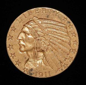 1911 $5 INDIAN HEAD GOLD HALF EAGLE COIN