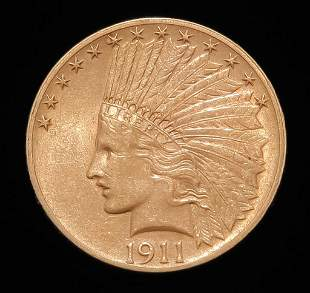 1911 $10 INDIAN HEAD GOLD EAGLE COIN