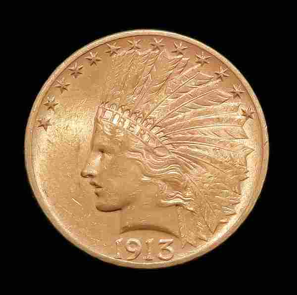 1913 $10 INDIAN HEAD GOLD EAGLE COIN