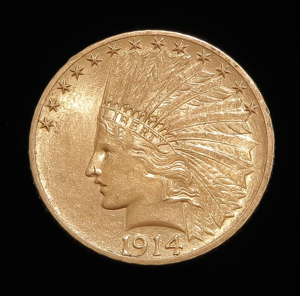1914 $10 INDIAN HEAD GOLD EAGLE COIN