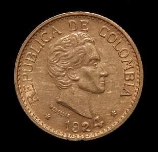 1924 REPUBLICA DE COLOMBIA CINCO PESOS GOLD COIN