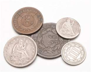 GROUP OF FIVE EARLY AMERICAN COINS
