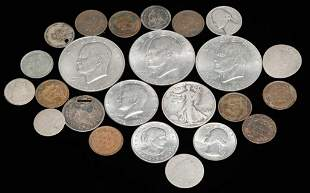 GROUP OF AMERICAN COINS INCLUDING SEATED DIMES