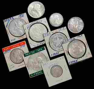 TEN VARIOUS FOREIGN SILVER COINS