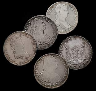 FIVE SPANISH COLONIAL SILVER 8 REALES COINS