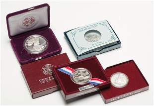 FIVE SILVER COMMEMORATIVE COINS INCLUDING AN EAGLE