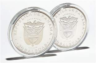 TWO 1974 PANAMA 20 BALBOAS SILVER PROOF COINS