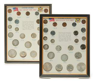 TWO FRAMED UNITED STATES 20TH CENTURY TYPE COINS