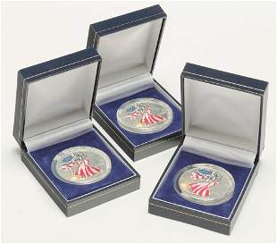 THREE 1999 COLORIZED EAGLE SILVER DOLLARS