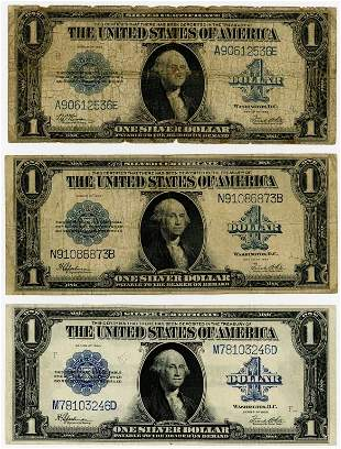 """FIVE """"FUNNY BACK"""" SILVER CERTIFICATE NOTES"""