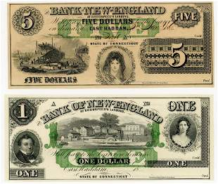 FOUR CONNECTICUT, EAST HADDAM $1 & $5 NOTES