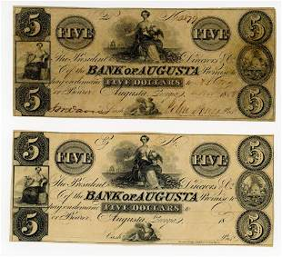 TWO GEORGIA, BANK OF AUGUSTA $5 NOTES