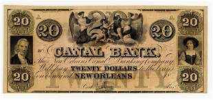 LOUISIANA, NEW ORLEANS CANAL BANK $20 NOTE