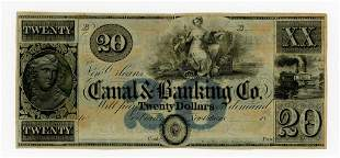 LOUISIANA, NEW ORLEANS CANAL BANKING CO. $20 NOTE