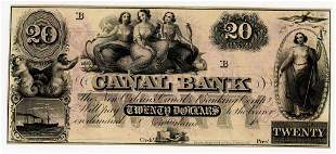 LOUISIANA, NEW ORLEANS CANAL BANK $20 DOLLAR NOTE