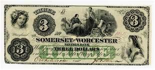 MARYLAND, SALISBURY SOMERSET & WORCESTER $3 NOTE