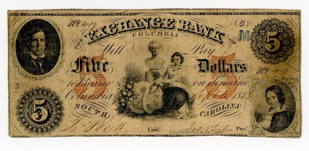 SOUTH CAROLINA, COLUMBIA $5 DOLLAR BANK NOTE