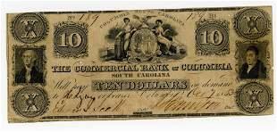 SOUTH CAROLINA, COLUMBIA $10 DOLLAR BANK NOTE