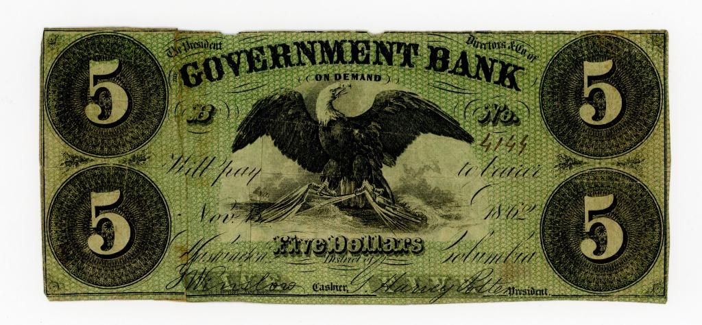 DISTRICT OF COLUMBIA GOVERNMENT BANK $5.00 NOTE