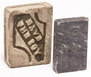 TWO AMERICAN CARVED STONE BOOKS.