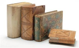FOUR AMERICAN WOODEN BOOKS.