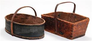 TWO AMERICAN WOODEN CARRIERS.