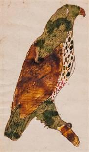 AMERICAN FOLK ART PAINTING OF A BIRD.