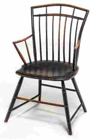 AMERICAN PAINTED BIRD CAGE WINDSOR ARMCHAIR.