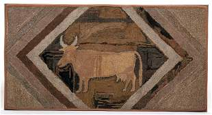 AMERICAN HOOKED RUG WITH COW.