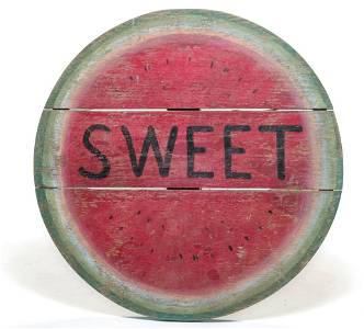 AMERICAN ROUND WATERMELON ADVERTISING SIGN.
