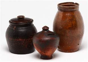 THREE PIECES OF AMERICAN REDWARE.