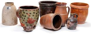 SEVEN PIECES OF STONEWARE AND REDWARE.