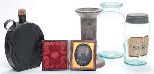 GROUP OF ITEMS INCLUDING CANNING JARS.