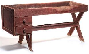 AMERICAN COUNTRY PAINTED SAWBUCK WORK TABLE.